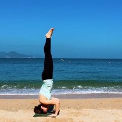 Krisyoga - Beach Yoga, Tripod Headstand on the beach, Hong Kong