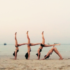 KrisYoga - Beach Yoga, Group Yoga Pose, Supported Handstand, Thailand