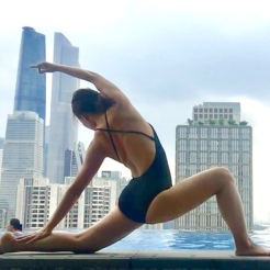 KrisYoga - Poolside Yoga, Reversed Low Lunge, Guangzhou