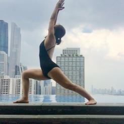 KrisYoga - Poolside Yoga, Warrior 1, Guangzhou