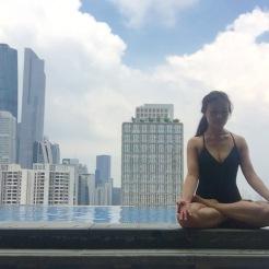 KrisYoga - Poolside Yoga, Lotus Pose, Guangzhou