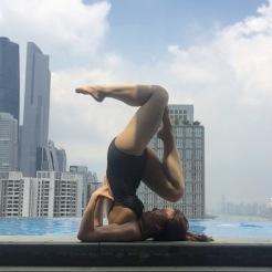 KrisYoga - Poolside Yoga, Shoulderstand Variations, Guangzhou