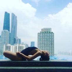KrisYoga - Poolside Yoga, Fish Pose, Guangzhou