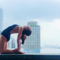 KrisYoga - Poolside Yoga, Camel Pose, Guangzhou